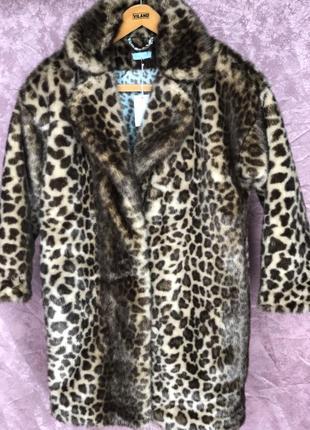 Новая женская леопардовая шуба мех с утеплителем большой размер