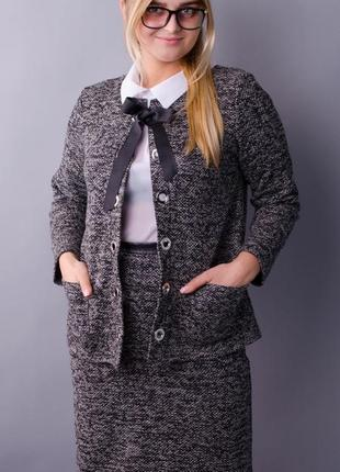 Замечательный женский деловой трикотажный костюм с юбкой размеры: 50-64