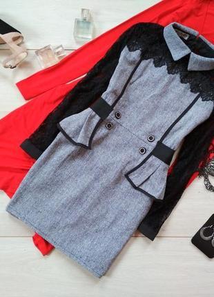 Стильное дизайнерское платье, из плотной теплой ткани! рукава кружевные. дефектов нет!
