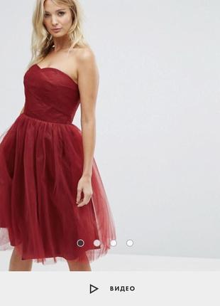 Распродажа 🔥 вечернее пышное платье asos миди из тюля цвет марсала