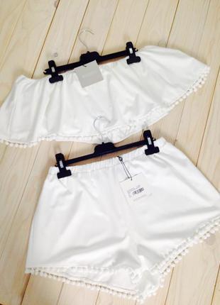 Невероятно милый нежный белоснежный костюм шорты и топ с помпонами m/l/xxl missguided2