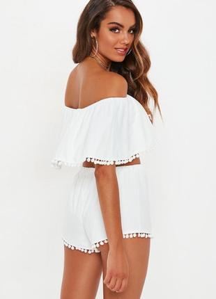 Невероятно милый нежный белоснежный костюм шорты и топ с помпонами m/l/xxl missguided4
