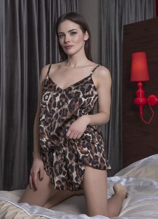 Шелковый леопардовый комплект майка и шортики