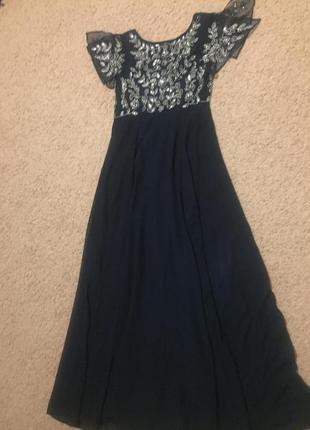 Вечернее платье темно-синего цвета с пайеткми класа luxury!!!