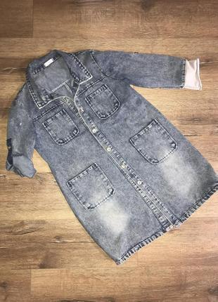 Джинсовый удлиненный пиджак