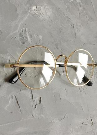Круглые имиджевые очки с золотистой оправой4