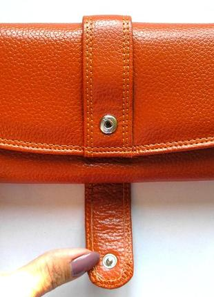 Кожаный классический кошелек корица, 100% натуральная кожа, есть доставка бесплатно2 фото