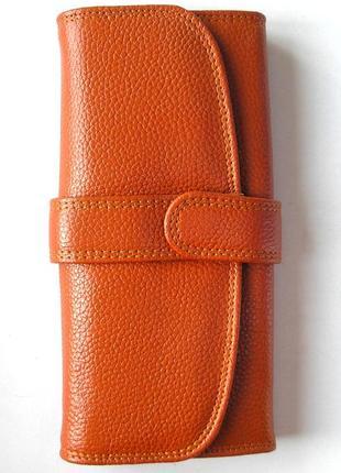 Кожаный классический кошелек корица, 100% натуральная кожа, есть доставка бесплатно