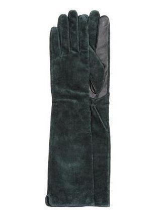 Длинные перчатки h&m натуральная замша и кожа р-р s