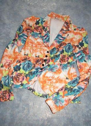 Пиджак жакет блейзер по фигуре в красивые розы eve р.12 l. лучшая цена!