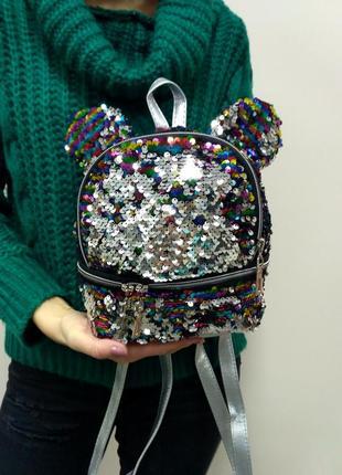 """Красивый рюкзак с паетками, ушками""""микки маус"""""""