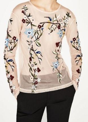 Блуза сетка с качественной вышивкой