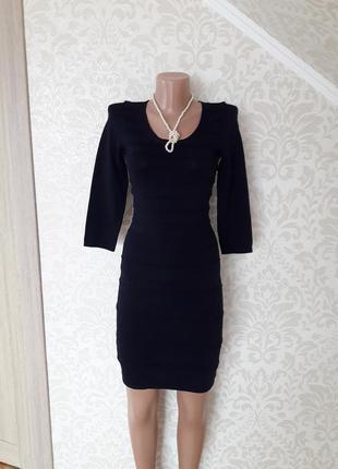 Темно синее платье по фигуре...