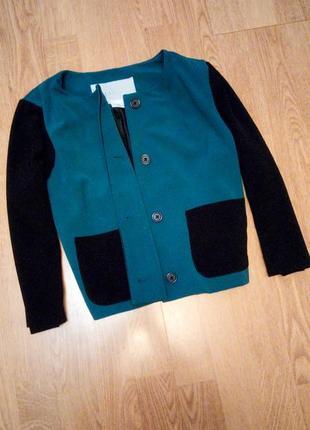 Фирменный жакет пиджак бирюзовый черный укороченый 3/4 рукав с карманами нарядный деловой