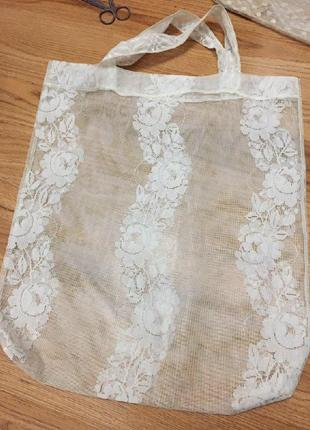 Лёгкая пляжная белая кружевная ажурная сумка мешочек