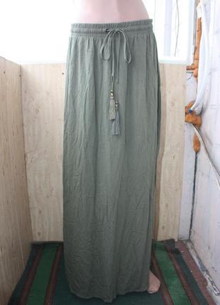 Стильная макси юбка с кисточками в пол хаки бохо стиль