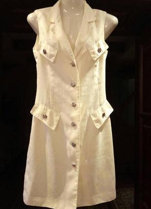 Распродажа! нежное льняное платье длины миди на пуговицах. платье халат на пуговицах