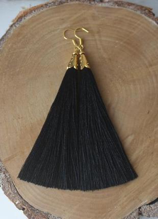 Серьги серёжки кисти кисточки чёрные нити длинные модные бохо