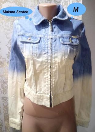 M укороченная джинсовая выбеленная куртка maison scotch