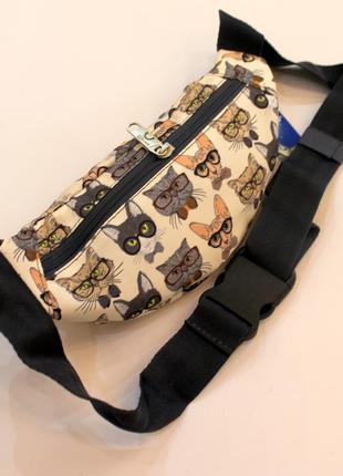 Бананка, барсетка, поясная сумка, барыжка, сумка на пояс, коты2 фото