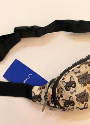 Бананка, барсетка, поясная сумка, барыжка, сумка на пояс, коты3 фото