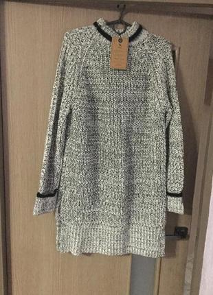 Вязаное тёплое платье туника