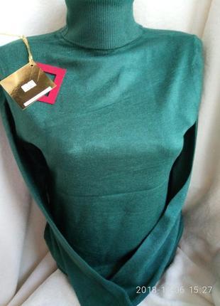 Гольф водолазка свитер воротник под горло кашемир 42-56 изумруд бутылка