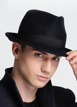 Мужская шляпа трилби, высококачественная 100% шесть, размер 56