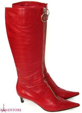 Сапоги sergio rossi италия женские итальянские высокие сапожки кожаные демисезон осень