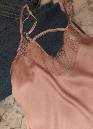 Маечка атласная шелковая  майка розовая пудровая secret possessions