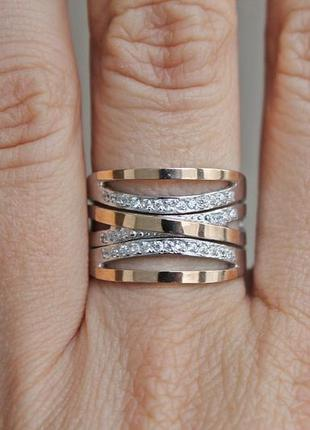 Серебряное кольцо с золотом эксклюзив (р.19) родированное