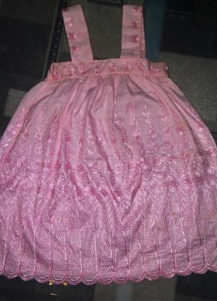 Розовое,детское,нарядное,пышное,блестящее,вышитое платье,сарафан на девочку 6-7-8-9 лет1