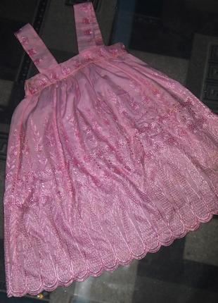 Розовое,детское,нарядное,пышное,блестящее,вышитое платье,сарафан на девочку 6-7-8-9 лет2