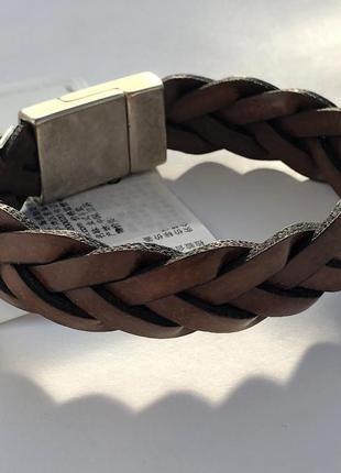 Кожаный плетёный браслет h&m