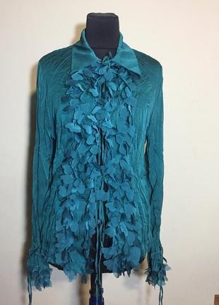 Нереально красивая шифоновая блуза жабо,