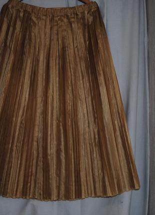 Шикарная золотистая юбка-плиссе