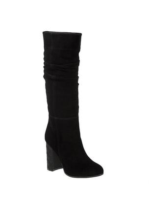 493бп женские сапоги kluchini,замшевые,на каблуке,на толстой подошве,на высоком каблуке