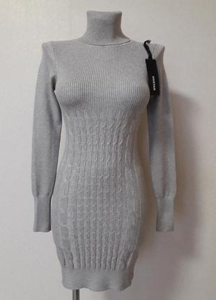 Распродажа!уютное,обтягивающее,теплое,68%хлопка,20%кашемира,короткое платье-туника