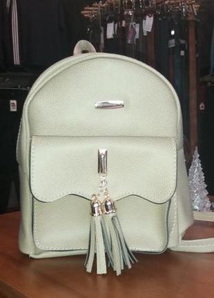 Женский стильный рюкзак кожаный бежевый