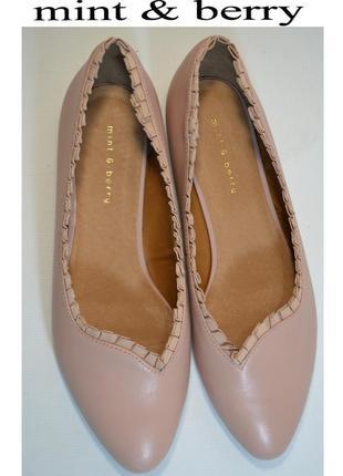 Р.39 mint&berry германия оригинал натуральная кожа! женственные изящные туфли балетки