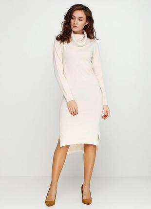 Шерстяное,качественное,теплое,75%шерсти мериноса,10%кашемира,кремовое платье-миди hostar