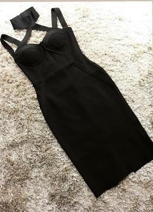 Шикарное сексуальное бандажное платье миди футляр черное с чокером herve leger5 фото