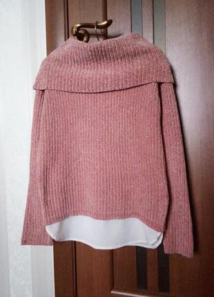 Мягенький комбинированный велюровый, бархатный свитер