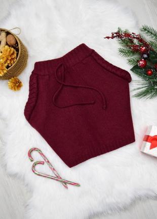 Тёплая шерстяная мини бордовая юбка
