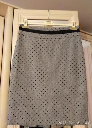Теплая юбка-карандаш в горошек