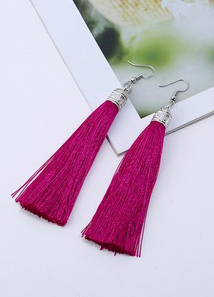 Малиновые серьги кисточки/серьги кисти розовые в стиле бохо