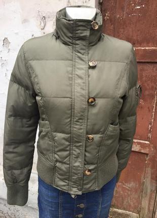 Пуховик короткий хаки пух перо бренд benetton зима куртка