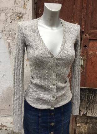 Кардиган свитер зима шерсть ангора кашемир бренд серый
