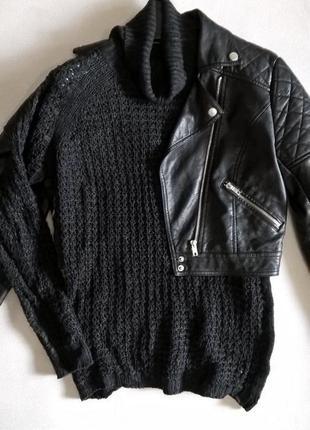 Вязанный свитер, сетка, с высоким воротом xs-s