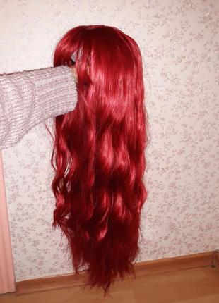 Парик красный, парик малиновый
